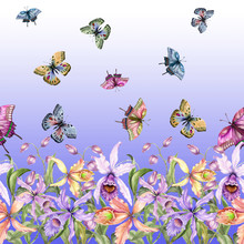 Beautiful Exotic Orchid Flowers (Laelia), Monstera Leaves And Flying Butterflies On Background. Seamless Tropical Floral Pattern, Border. Fabric, Wallpaper, Bed Linen, Greeting Card Design.