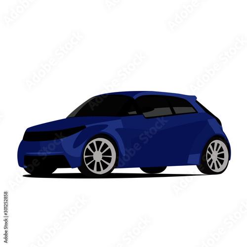 Foto op Aluminium Cartoon cars Hatchback blue realistic vector illustration isolated