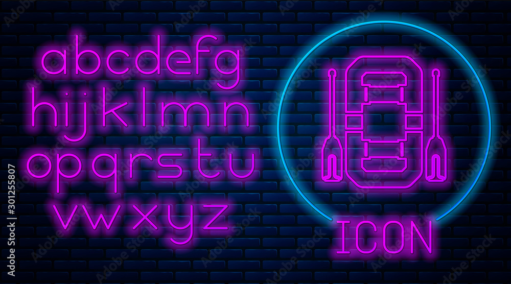 Fototapety, obrazy: Glowing neon Rafting boat icon isolated on brick wall background. Inflatable boat with oars. Water sports, extreme sports, holiday, vacation, team building. Neon light alphabet. Vector Illustration
