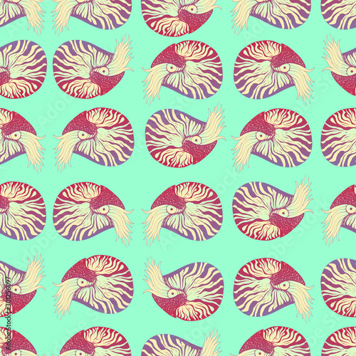 Photo Colorful Nautilus  decorative animals seamless pattern, ashen burgundy violet and pastel blue beige color gradient, isolated on light turquoise background