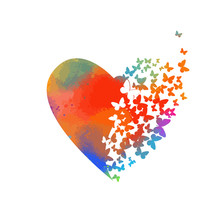 Abstract Multicolored Heart Of Butterflies. Happy Valentine's Day. Vector