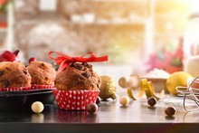 Christmas Table With Freshly Baked Muffins Front