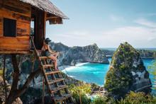 Traveler On Tree House At Diamond Beach, Nusa Penida Island, Bali, Indonesia