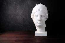Gypsum Copy Of Ancient Statue Venus Head On A Dark Textured Background Plaster Sculpture Womans Face