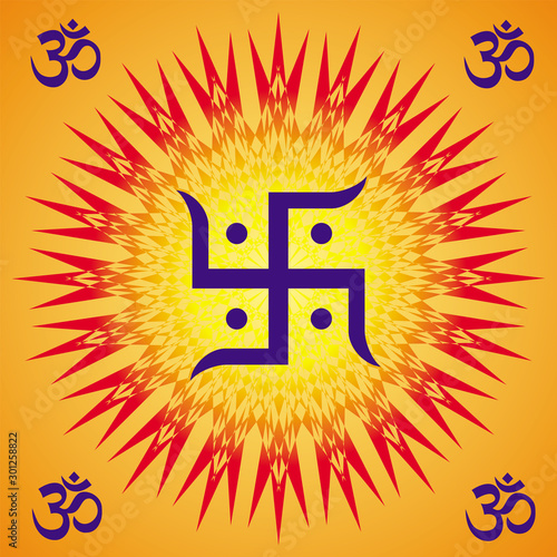 A Square circular orange mandala with aum / om  / ohm signs in the corners and a swastika, a rotation element in the center Wallpaper Mural