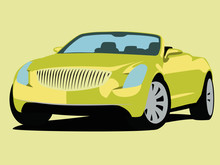 Convertible Vector Yelow Realistic Illustration Isolated