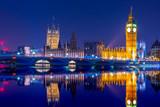 Fototapeta Big Ben - Big Ben clock tower on River Thames in Westminster, London at night. Long exposure.