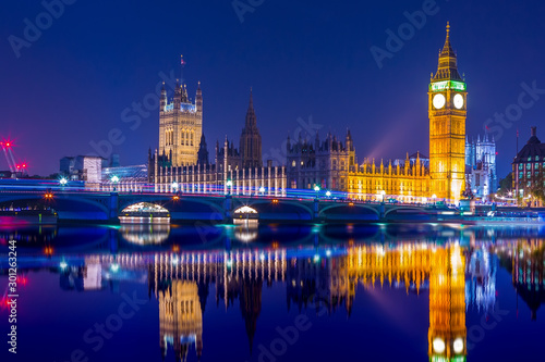 Obraz Big Ben clock tower on River Thames in Westminster, London at night. Long exposure. - fototapety do salonu