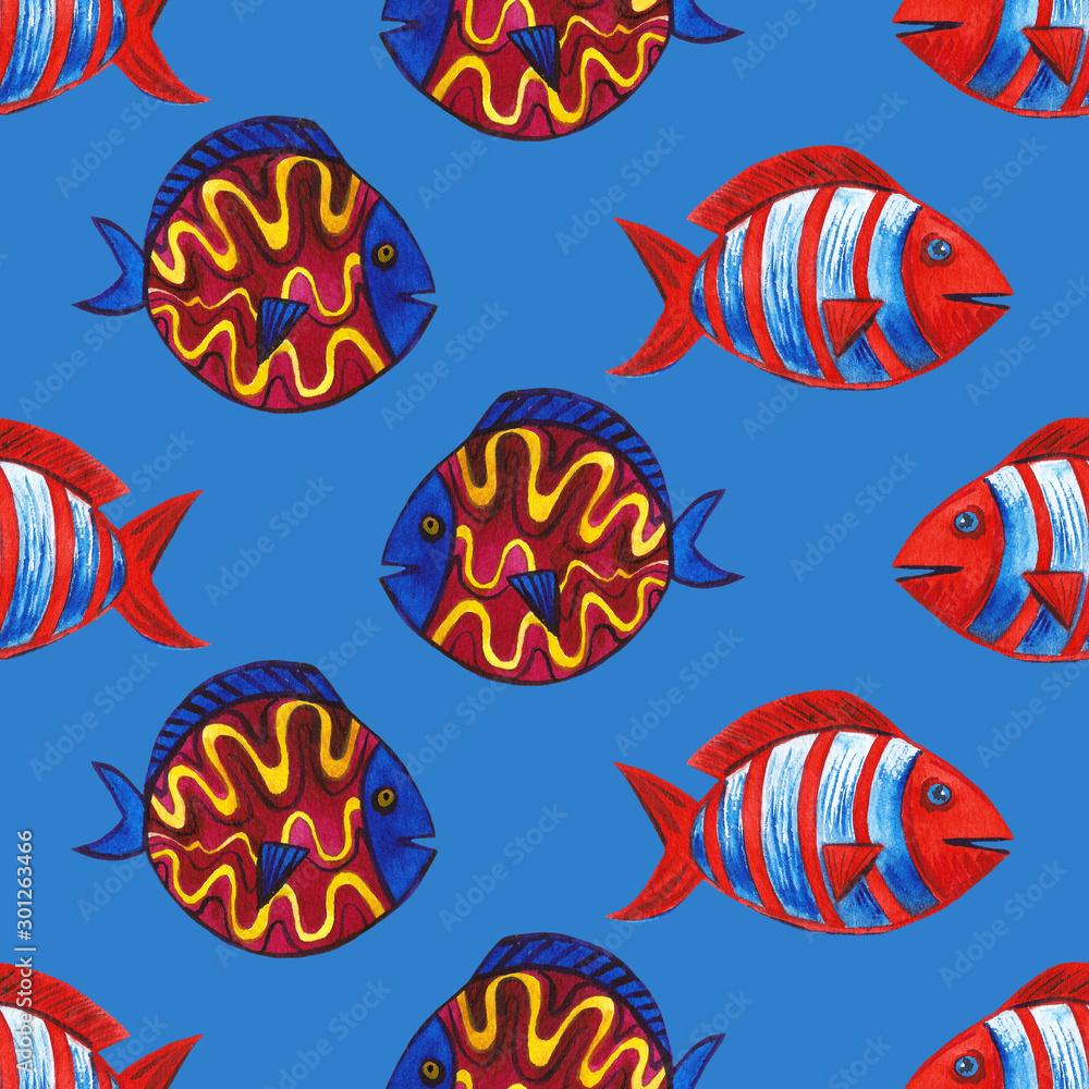 Set of marine Tropical fish illustration. Watercolor hand drawn background. Sea ocean life