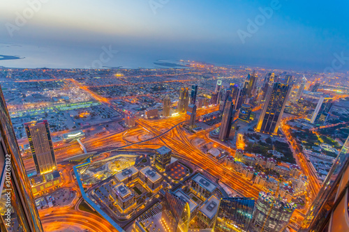 Fotografie, Obraz  Aerial view of Downtown Dubai at the sunset
