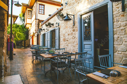 Outdoor street cafe.