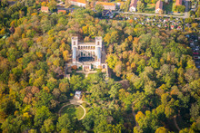 Potsdam, Germany, Belvedere Pfingstberg With The Temple Pomona And Park Grounds During Early Autumn - Aerial View