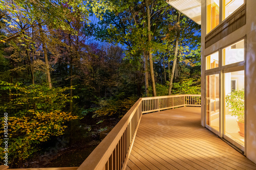 Deck on Home in Woods at Night Fototapeta
