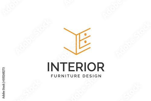 Cuadros en Lienzo Simple minimalist yellow cabinet furniture interior logo design flat vector grap