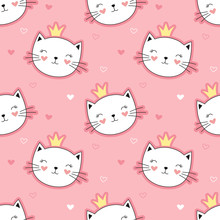 Cute Princess Cats Seamless Pattern, Little Kitty. Girlish Print For Textiles, Packaging, Fabrics, Wallpapers.
