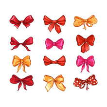 Bow For Hair Decor Flat Vector Illustrations Set. Red, Pink, Yellow Ribbons Isolated On White Background. Polka Dot Bowknot, Trendy Girls Accessories. Cute Vintage Hairstyle Elements Collection
