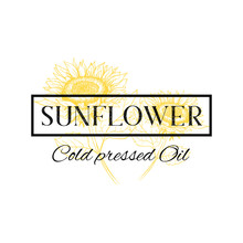 Cold Pressed Sunflower Oil Vector Hand Drawn Logo Template. Yellow Flower Sketch In Black Frame Illustration. Bio Handmade Product Packaging Label Design. Organic Cooking Oil Logotype Layout