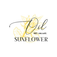 100 Percent Natural Sunflower Oil Vector Logotype Template. Yellow Flower Blossom Sketch With Ink Calligraphy Isolated On White Background. Organic Cooking Oil Package Label, Logo Design
