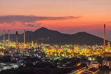 The Sunset Scene Of The Petrochemical Industry Refinery At Dusk After Sunset