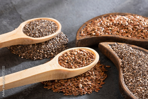 Organic chia and linseed seeds - Text space Canvas-taulu
