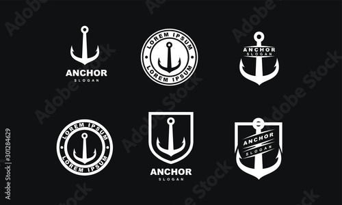 set of Old badge anchor logo icon design vector illustration Fototapete