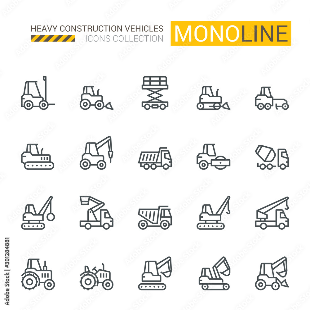 Fototapeta Industrial Vehicles Icons,  Monoline concept The icons were created on a 48x48 pixel aligned, perfect grid providing a clean and crisp appearance. Adjustable stroke weight.