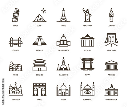 Fototapeta International, Landmarks and Monuments ,  Monoline concept The icons were created on a 48x48 pixel aligned, perfect grid providing a clean and crisp appearance. Adjustable stroke weight.  obraz
