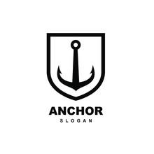 Old Badge Anchor Logo Icon Des...