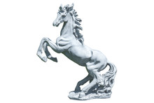 Horse Statue Isolated On White Background. Skittish Horse Sculpt