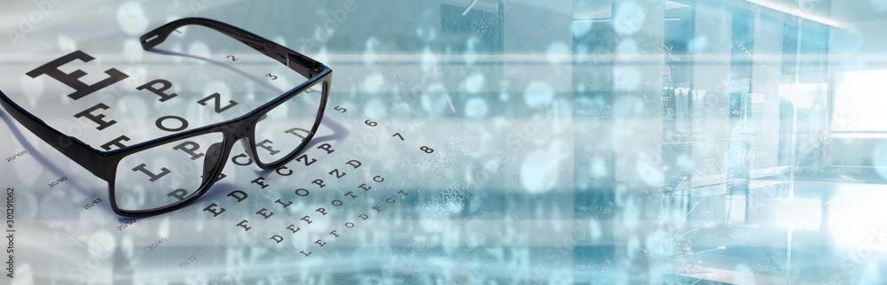 Fototapeta Eye vision test with sight chart optometrist technology