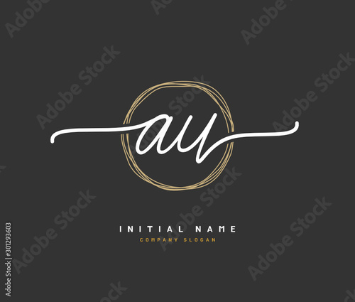 Photo A U AU Beauty vector initial logo, handwriting logo of initial signature, wedding, fashion, jewerly, boutique, floral and botanical with creative template for any company or business