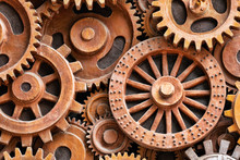 Close Up Pattern Of Sculpture Using Old Rusted Gears