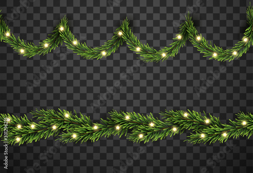 Fototapeta Christmas tree decor with fir branches and star on transparent background, vector illustration obraz