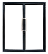 Black Aluminium Double Door Isolated On White Background,include Clipping Path