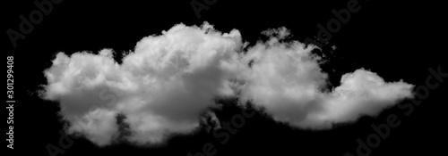 Fényképezés White cloud isolated on black background,Textured smoke,brush effect