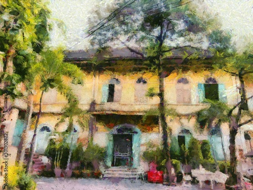 Fototapety, obrazy: Colonial style ancient building architecture Illustrations creates an impressionist style of painting.