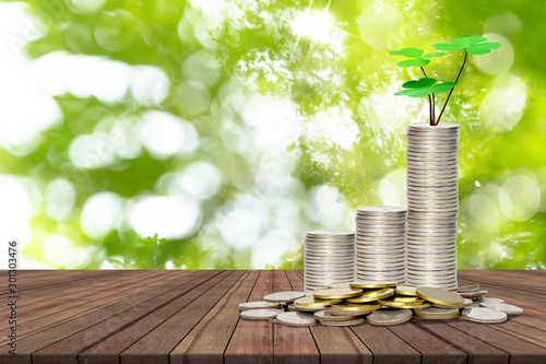 Fotografía  stack of coins and tree on wooden table with bokeh nature background,Lucky econo