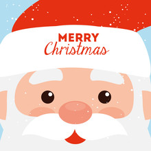 Merry Christmas Poster With Fa...