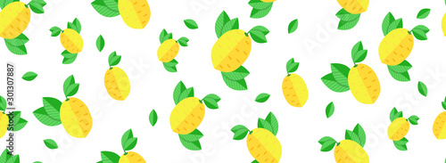 Seamless bright light pattern with Fresh lemons for fabric, drawing labels, print on t-shirt, wallpaper of children's room, fruit background. Slices of a lemon with leaves cheerful background.