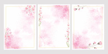 Pink Watercolor Flower Splash Background With Golden Frame Collection 5x7 For Wedding Or Birthday Invitation Card Eps10 Vectors Illustration