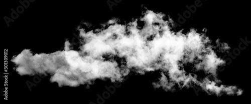 White cloud isolated on black background,Textured smoke,brush effect - fototapety na wymiar
