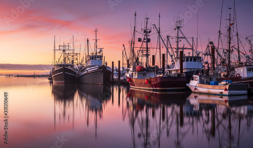 Fotografia, Obraz Fishing boats in Steveston Harbour at dusk, Richmond, British Columbia