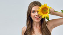 Happy Woman Holding Sunflower ...