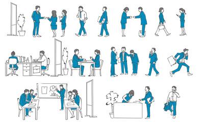 働く人の集合イラスト 手描き ビジネス