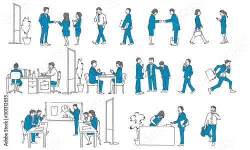 Obraz na plátně  働く人の集合イラスト