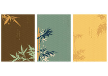 Chinese Background With Bamboo...