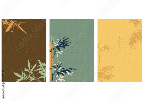 Chinese background with bamboo elements decoration in Oriental style Canvas Print