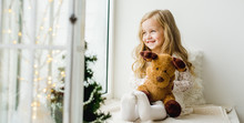 Little Girl With A Plush Deer ...