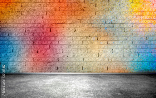 Colorful brick wall, street background - 301317812