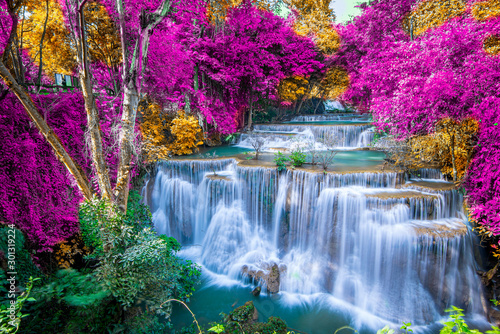Amazing in nature, beautiful waterfall at colorful autumn forest in fall season	 - 301319224